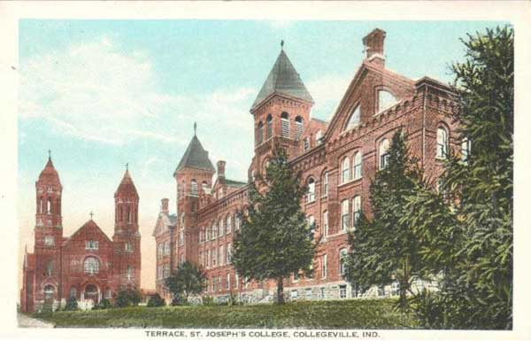 "Colorized black and white photo. Caption reads ""Terrace, St. Joseph's College, Collegeville, Ind."""